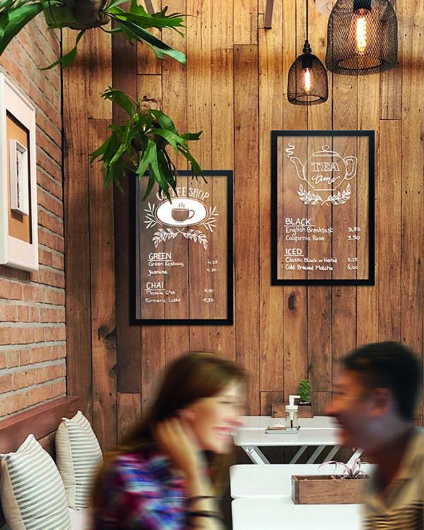 Kreidetafel mit schwarzem Holzrahmen und Glastafel zum beschriften, transparente Kreidetafel