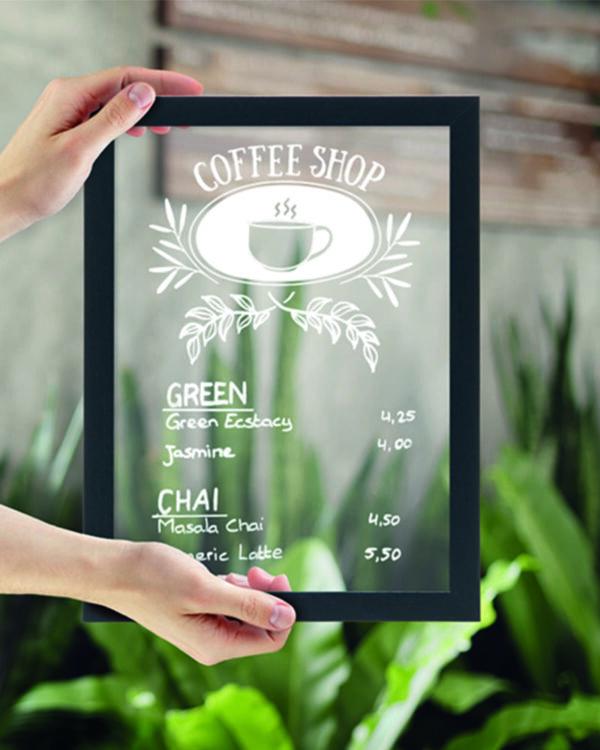 beschriftete Glas Kreidetafel mit schwarzem Holzrahmen, 30x40cm