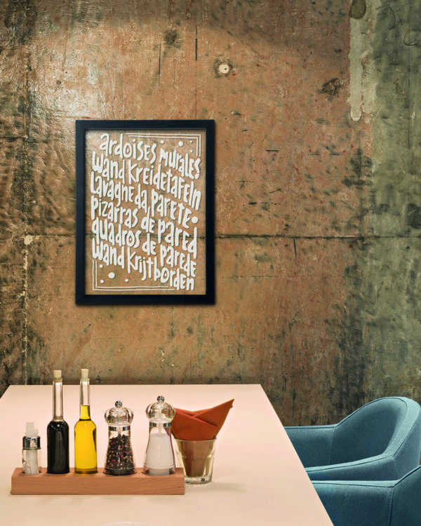 beschriftete Kreidetafel mit Fläche aus Glas, schwarze Kreidetafel mit Glasfläche von Securit