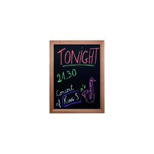 günstige Kreidetafel aus Holz in hellbraun, Wandtafel für Restaurants und Bars, beschriftet