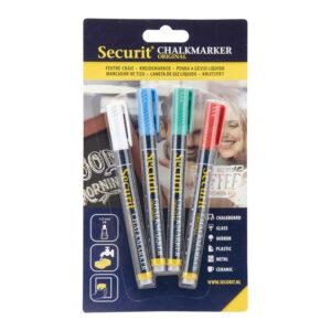 Kreidemarker 4-Set von der Marke Securit, weiss blau grün und rot, 1-2mm Strichbreite