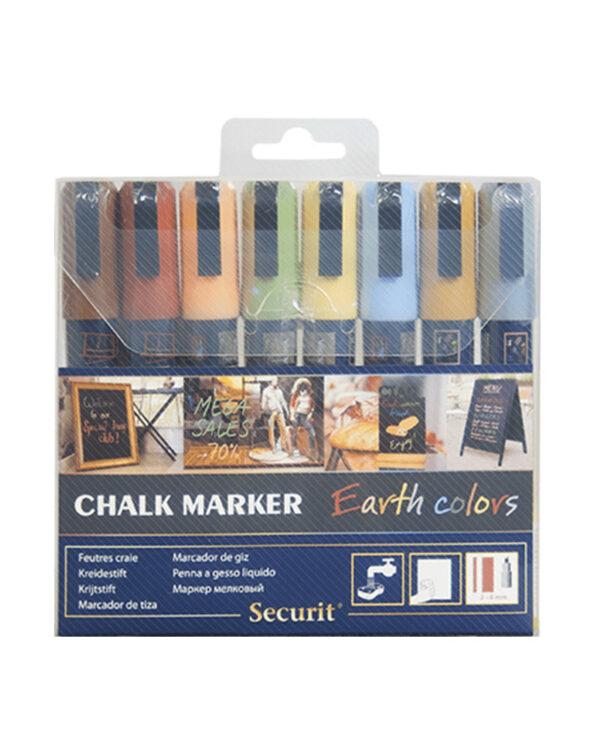 Kreidemarker farbig in Erdfarben, 8er Set Kreidemarker mit 2-6mm Spitze für das Beschriften von Kreidetafeln Kundenstopper