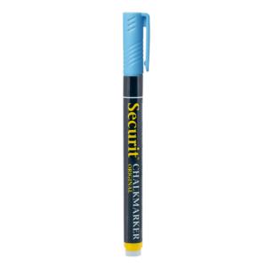 blauer Kreidemarker Securit mit 1-2mm Spitze, Kreidestift blau für das Beschriften von dunklen Kreidetafeln, Boards und Glas, wasserlöslich