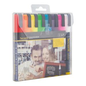 farbige Kreidemarker Securit 8er Set, Kreidemarker 6mm für das Beschriften von Kundenstopper und Keidetafeln
