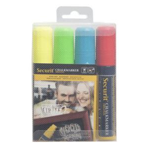 farbige Kreidemarker Securit mit 7-15mm Strichbreite, Kreidestifte für Kreidetafeln und Kundenstopper