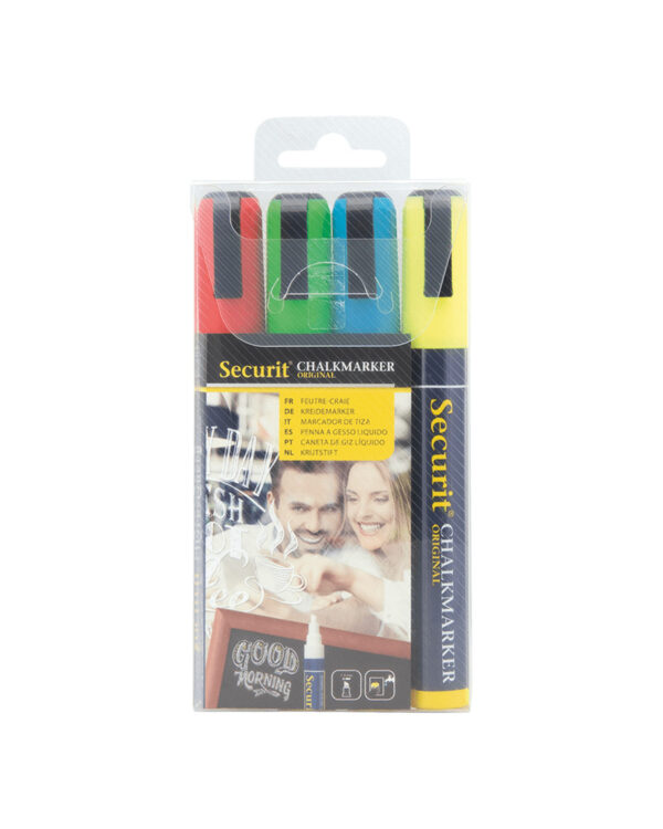 farbiges Kreidemarker Securit mit 4 Kreidestiften Gelb Rot Blau und Rot, Kreidestifte für das Beschriften von Kreidetafeln