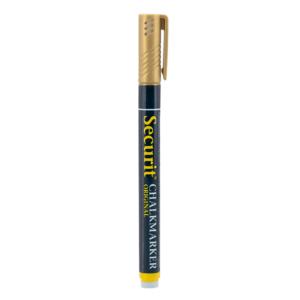 goldener Kreidemarker Securit mit 1-2mm Spitze, Kreidestift gold für das Beschriften von weissen Kreidetafeln, Boards und Glas, wasserlöslich
