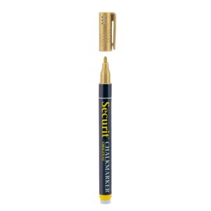 goldener metallic Kreidemarker Securit mit 1-2mm Spitze, Kreidestift gold für das Beschriften von weissen Kreidetafeln, Boards und Glas, wasserlöslich