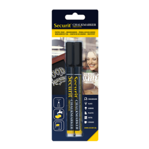 schwarze Kreidemarker Securit 1-2mm, Kreidestifte Securit 2-er Set schwarz