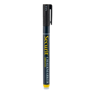 schwarzer Kreidemarker Securit mit 1-2mm Spitze, Kreidestift schwarz für das Beschriften von weissen Kreidetafeln, Boards und Glas, wasserlöslich