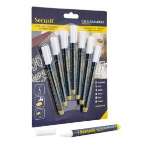 weisse Kreidemarker Marke Securit, 1-2mm Strichbreite, Kreidestifte für Kreidetafeln und Boards, 7-er Set weiss