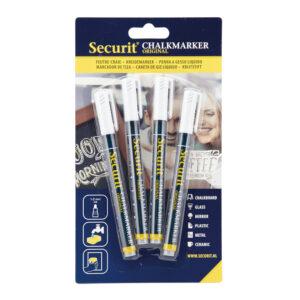 weisse Kreidemarker Securit für das Beschriften von Kreidetafeln und Boards, 1-2mm Strichbreite, abwischbar