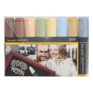 farbige Kreidemarker Securit in Erdfarben-Pastellfarben, Kreidestifte Kreidemarker für Beschriftung auf Kreidetafeln