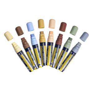 farbige Kreidemarker Securit in Erdfarben-Pastellfarben, Kreidestifte Kreidemarker für Beschriftung auf Kreidetafeln, 7-15mm Strichbreite