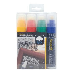 wasserfeste Kreidemarker 4-er Set farbig mit 7-15mm Strichbreite, Securit Kreidemarker farbig wasserfest für Kriedetafeln & Wandtafel Beschriftung