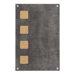 Kreidetafel mit Korkeinsätzen in Betonoptik, Holz Kreidetafel ohne Rahmen in Betonfarbe und Kork für das Anheften von Notizen und Fotos