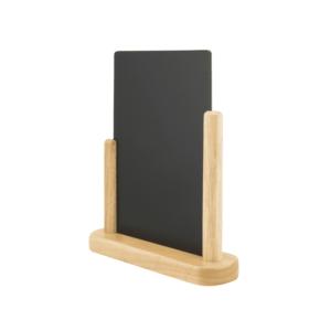 DIN A6 Tischaufsteller Kreidetafel mit Holzrahmen in Buche und austauschbarer Melamin-Kreidetafel