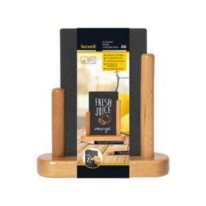DIN A6 Tischtafel Holz mit Kreidetafel zum Beschriften mit Kreidemarker Securit, Hellbraune Tischkreidetafel Securit A6 günstig kaufen
