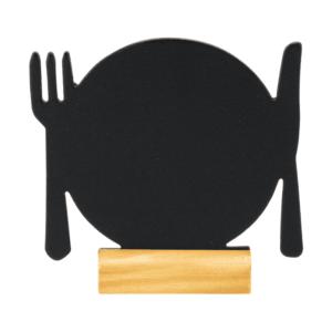Gastro Tischaufsteller Kreidetafel Teller mit Besteck inklusive einem weissen Securit Kreidemarker