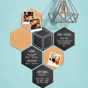 Hexagon Krreidetafel Silhouette mit Korktafeln im 7er Set beschriftet mit Angeboten und Preislisten