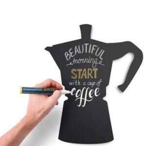 Kaffeekanne Kreidetafel Silhouette beschriftet mit weissem und goldenem Kreidemarker Securit