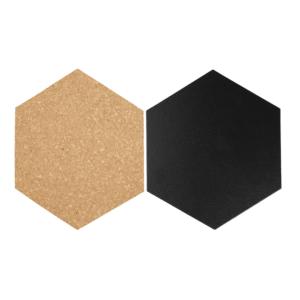 Kreidetafel Hexagon Form Silhouette schwarz + Korktafeln Securit