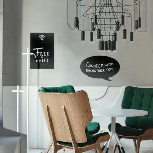 Kreidetafel Sprechblase aufgehängt Zuhause beschriftet mit Kreidemarker weiss Securit, Securit Silhouette Sprechblase