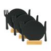 Mini Tischkreidetafeln Teller mit Besteck geeignet als Tischtafeln für Restaurants, Bistros, etc.