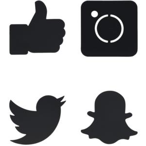 Social Media Icons Formen Kreidetafel zum Aufhängen oder Aufkleben an Wand, Türe, etc.