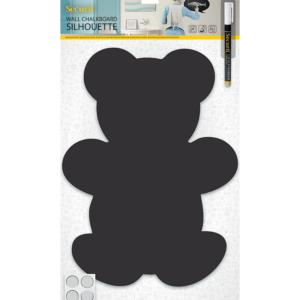 Teddybär Kreidetafel Form Silhouette, Kinder Kreidetafel Bär zum Beschriften mit Kreidemarker Kreidestifte inkl Kreidemarker und Wandmontageset