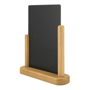 Tischaufsteller Kreidetafel Holz mit Teak braunem Holzrahmen und beschriftbare Melamin Tafel schwarz in DIN A4 Format