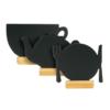 Tischaufsteller für Restaurants 3er-Set Mix Kaffeetasse, Teekanne und Teller mit Besteck