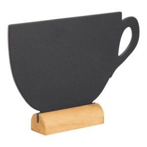 Tischkreidetafel Aufsteller in Kaffeetassenform mit hellbraunem Holzfuss beschriftbar mit Securit Kreidemarker