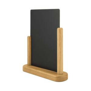Tischkreidetafel Tischaufsteller mit Hellbraunem Holzrahmen zum Aufstellen auf Tischen in Restaurants und Bars DIN A5