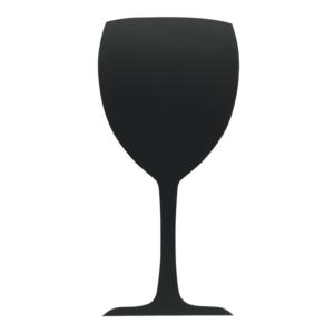 Weinglas Kreidetafel ohne Rahmen in komplett schwarz, Glas Kreidetafel Form Silhouette für Bars und Weinshops
