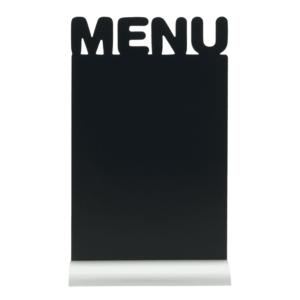 Eckige Tischtafel Aufsteller mit Kreidetafel zum Beschriften mit Kreide und Kreidestifte und Aluminiumfuss zum Aufstellen