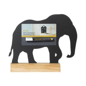 Elefanten Tischaufsteller Kreidetafel mit Holzsockel als Dekoration für Zuhause, Tischaufsteller mit Holzsockel