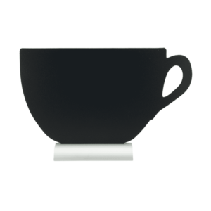Kaffeetasse Tischtafel mit Alusockel und beschriftbarer schwarzer Kreidetafelfläche