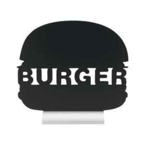 Kreidetafel Burger Form Silhouette als Tischaufsteller für Fast Food Restaurants