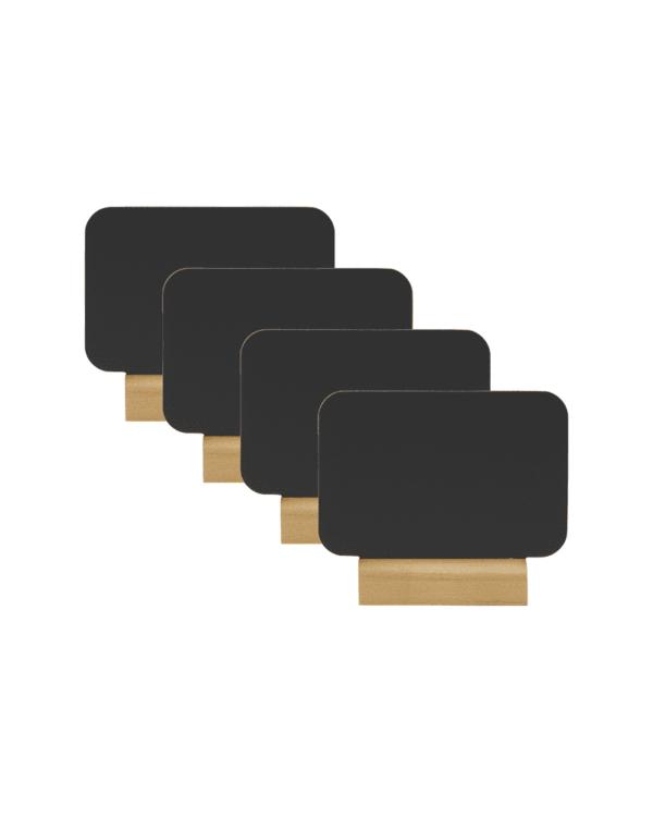 Mini Tischkreidetafel Aufsteller 4er-Set mit hellbraunem Holzfuss, Gastro Tischaufsteller schwarz ohne Rahmen und Holzfuss