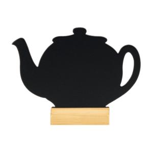 Tischaufsteller Kreidetafel in Form einer Teekanne für die Beschriftung mit Kreide und Kreidemarker