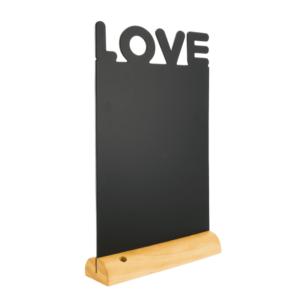 Tischaufsteller mit Kreidetafel Love verwendet als romantische Dekoration für Zuhause und an Valentinstagen