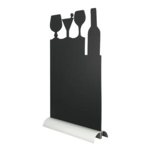 Tischaufsteller mit zugeschnittener Melamin Kreidetafel in Cocktail Silhouette zum Beschriften mit Kreidemarker