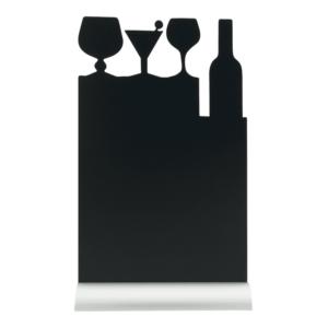 Tischkreidetafel Aufsteller Cocktail Silhouette mit Aluminium Fuss und Silhouette aus Melamin zum Beschriften mit Kreidestiften