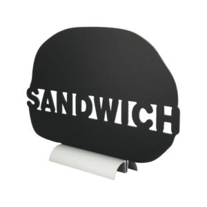 Tischkreidetafel Aufsteller mit Alufuss und in Form eines Sandwiches aufstellbar auf Tischen in Restaurants, Takeaways