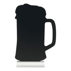 Tischkreidetafel Bier Form-Silhouette mit Aluminium-Sockel, Tischaufsteller Kreidetafel Bier Silhouette mit Alufuss