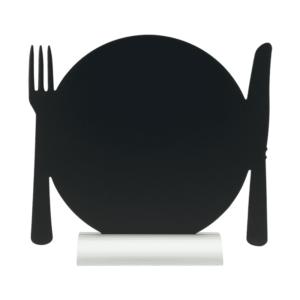 Tischkreidetafel in Form eines Tellers mit Besteck, Gastro Tischtafel Securit zum Beschriften als Menütafel
