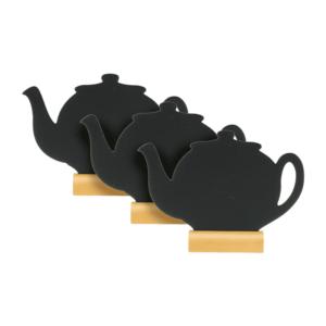 Tischtafel Aufsteller Teekanne 3er-Set, Securit Tischkreidetafel als Silhouette in Teekanne