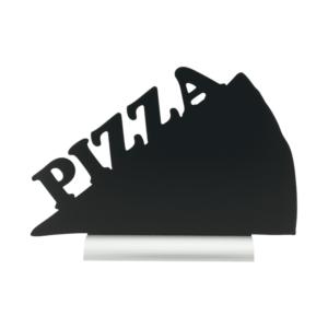 Tischtafel Pizza Form Silhouette mit Alusockel zum Beschriften mit Kreide und Kreidemarker