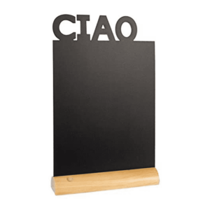 schwarze Tischkreidetafel rechteckig ciao zum Aufstellen auf Tischen in Restaurants, Bars als Willkommens Tischtafel